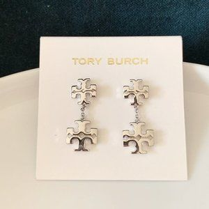 Tory Burch Logo Silver Earrings
